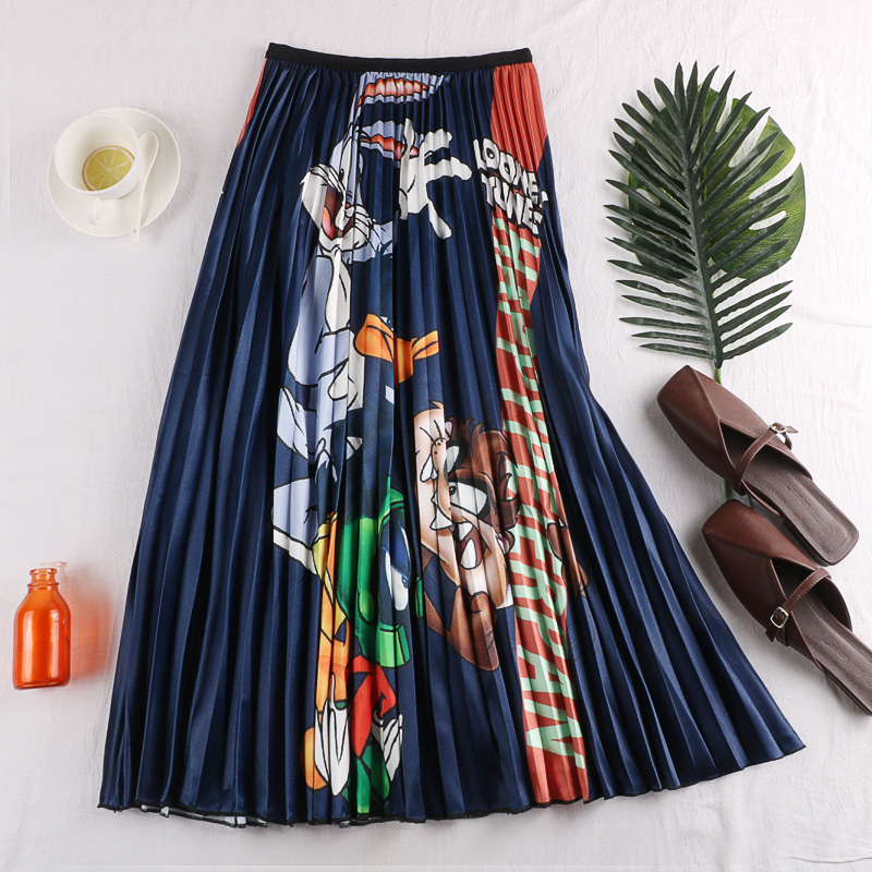 QUALITY 2019 Harajuku Fashion Cartoon Print Women Summer Pleated Long Skirt High Waist Women A-Line Midi Skirt Saias Femme
