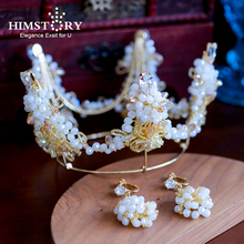HIMSTORY Handmade Beaded Crown Tiaras Baroque Gold Pearl Round Wedding Hair Accessories Vintage Party Jeweslry