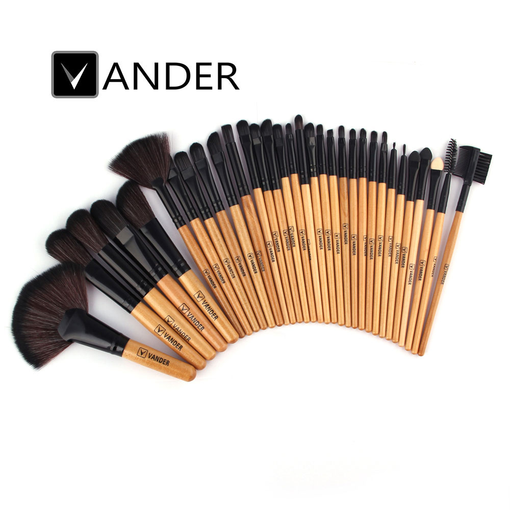Vander Professional 32Pcs Brown Makeup Cosmetic Blush Brush Eyebrow Foundation Powder Multifunction Brushes Kit Set w/ Pouch Bag new lcbox professional 16 pcs makeup brush set kit pouch bag cosmetic brush kit cosmetic powder foundation eyeshadow brush tools