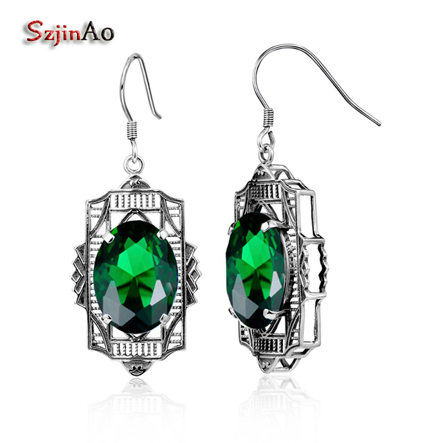 Szjinao Fashion Brand Beautiful Emerald Earrings Elegant Gree Rhinestone Vintage For Women 925 Sterling Silver