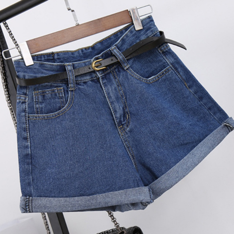 Retro Casual high waist denim   shorts   for women loose edge Rolled denim   shorts   2018 summer slim A-lined wide leg   shorts   female