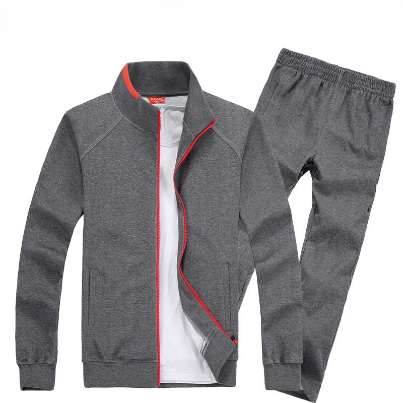 AmberHeard 2019 Spring Autumn Men Sporting Suit Set Jacket+Pant Sweatsuit 2 Piece Set Sportswear Tracksuit Male Set Clothing 8XL