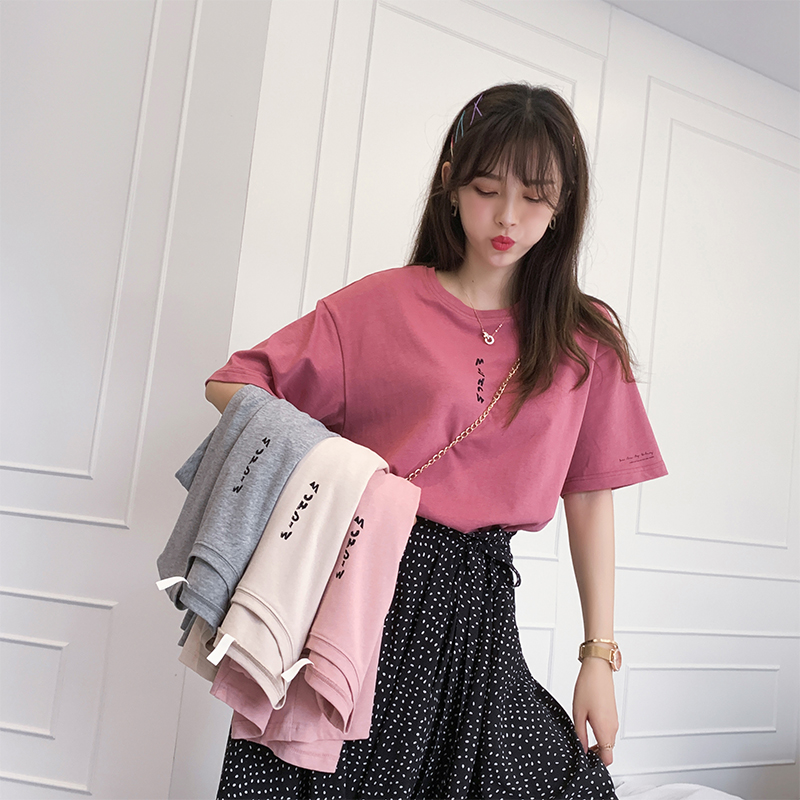 MiShow 2019 Summer Women Casual Fashion Pure Cotton Short Sleeves Round Neck Youth Letter T-shirt MX19B3323