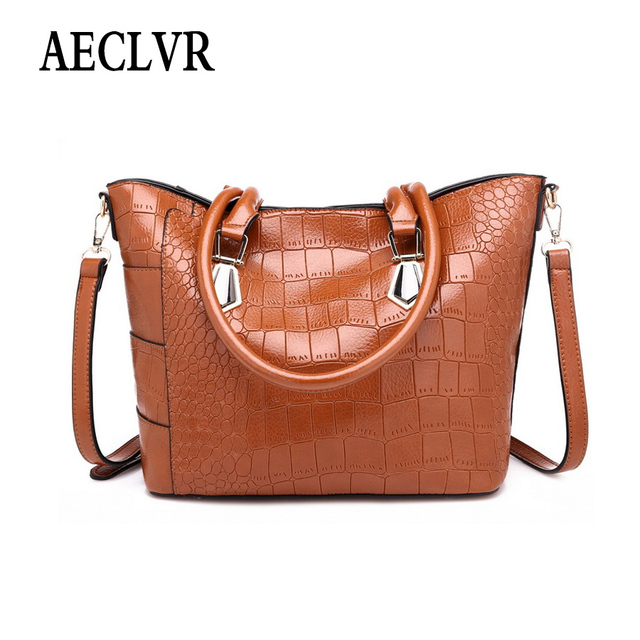 AECLVR Solid Color Alligator Pu Leather Casual Totes Simple Style Women Business Handbags All-Match Elegant Ladies Shoulder Bags