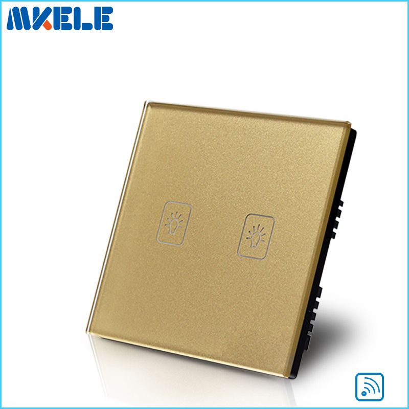 Free Shipping 2 Gang 1 Way Remote Control Touch Switch UK Standard Gold Crystal Glass Panel With LED Wall Light smart home eu touch switch wireless remote control wall touch switch 3 gang 1 way white crystal glass panel waterproof power
