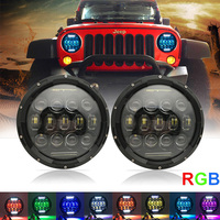 75W 7 inch Led Headlights for Jeep Wrangler 5D RGB Turn Signal Color Changing Daytime Running Lights Led for Lada Niva