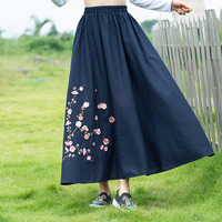Autumn new national Wind loose embroidery big code retro skirt Chinese style chinese embroidery casual