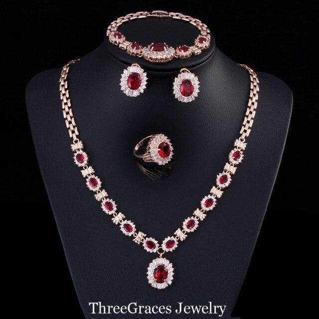 29c5d7c6b8ae Las Mujeres nigerianas Creado Rubí Cubic Zirconia Anillo Arete Y Collar de  Cristal Pulseras de Oro