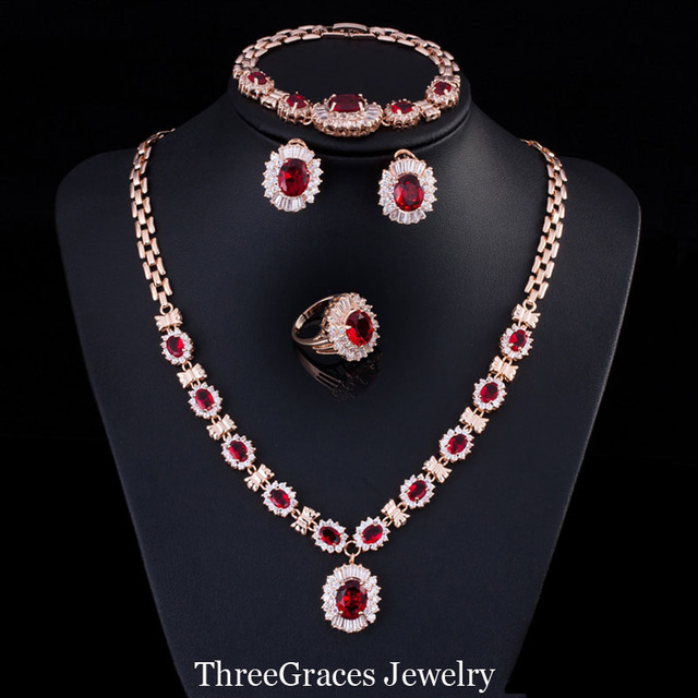 Nigerian Women Created Ruby Cubic Zirconia Crystal Earing And Necklace Bracelets Ring Gold Plated Wedding Jewelry Set  JS167