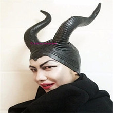 Halloween Movie Funny Evil Witch Maleficent Gothic Horn Cosplay Fancy Dress Hats Mask Queen Costume COS Witch Headdress Cap gift