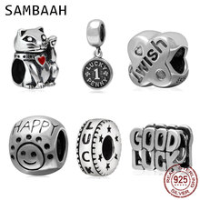 Sambaah Lucky Cat Dog Elephant Charms 925 Sterling Silver Good Luck Beads fit Original Pandora Bracelet