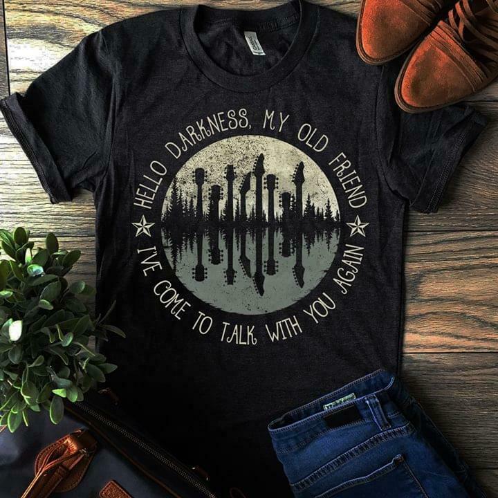 Guitar Moon Hello Darkness My Old Friend Hippie T Shirt Black Cotton Men S 4Xl