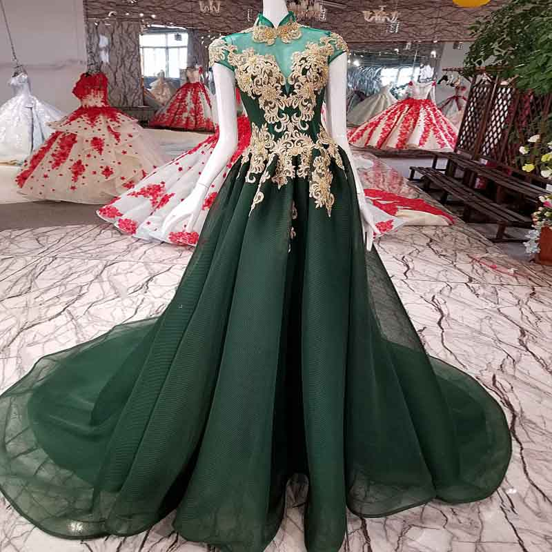 Abendkleider 2018 Dark Green Long Prom Dresses Gold Appliques Pearls ...