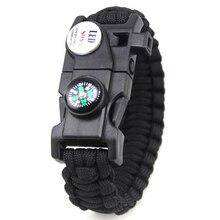 Braided Bracelet Men LED Light Multifunctional Paracord Survival Bracelet Outdoor Camping Rescue Rope Bracelet For Women