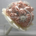 Hand Made Top quality beaded Brooch silk Flower bride Bridal wedding bouquet bridesmaid  Rose pearl Artificial flower 8521s
