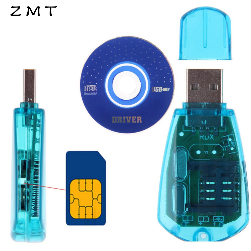 Mobile Phone USB Mini Sim Card Reader Writer Copy Cloner Back Up Kit GSM CDMA WCDMA SMS Adapter Converter Cellphones With Disk