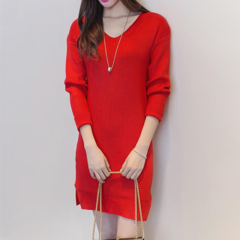 Autumn Winter Outwear Women <font><b>Ribbed</b></font> <font><b>Knit</b></font> Swing <font><b>Dress</b></font> V Neck Dropped Shoulders Long Sleeve Casual Oversized <font><b>Dresses</b></font>