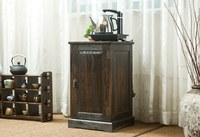 Japanese Antique Wooden Tea Cabinet Paulownia Wood Asian Traditional Furniture Living Room Drawer Storage Cabinet