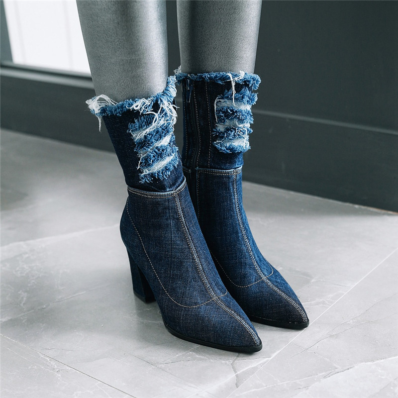 YMECHIC 2018 Fashion Denim Mid Calf Boots Blue Lady's Holes Tassel Pointed Toe Chunky Stable Hoof High Heels Winter Shoes Women