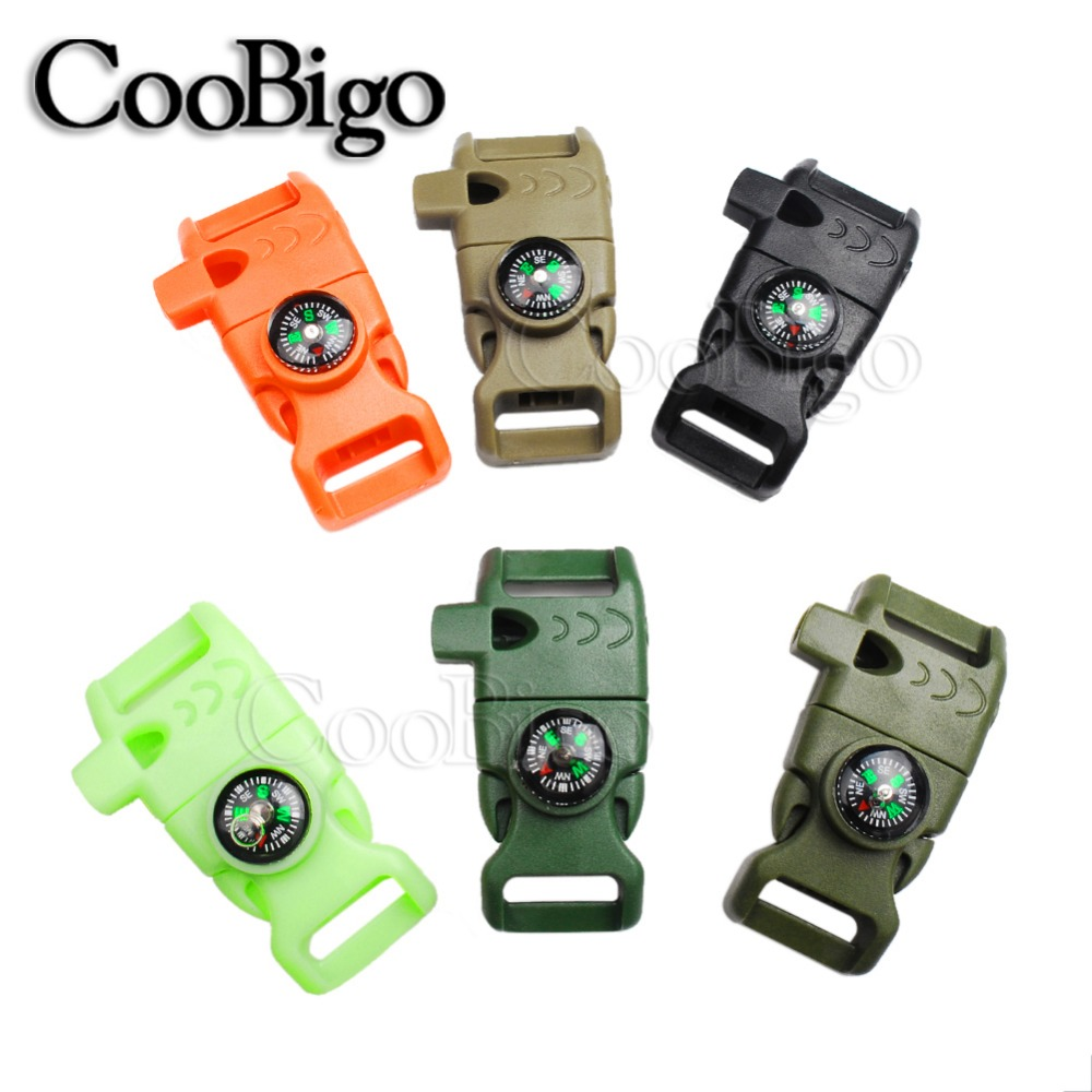 100pcs Parachute 550 Cord Paracord Bracelet 5 8 Side Release Buckle Whistle Compass Scraper Outdoor Emergency