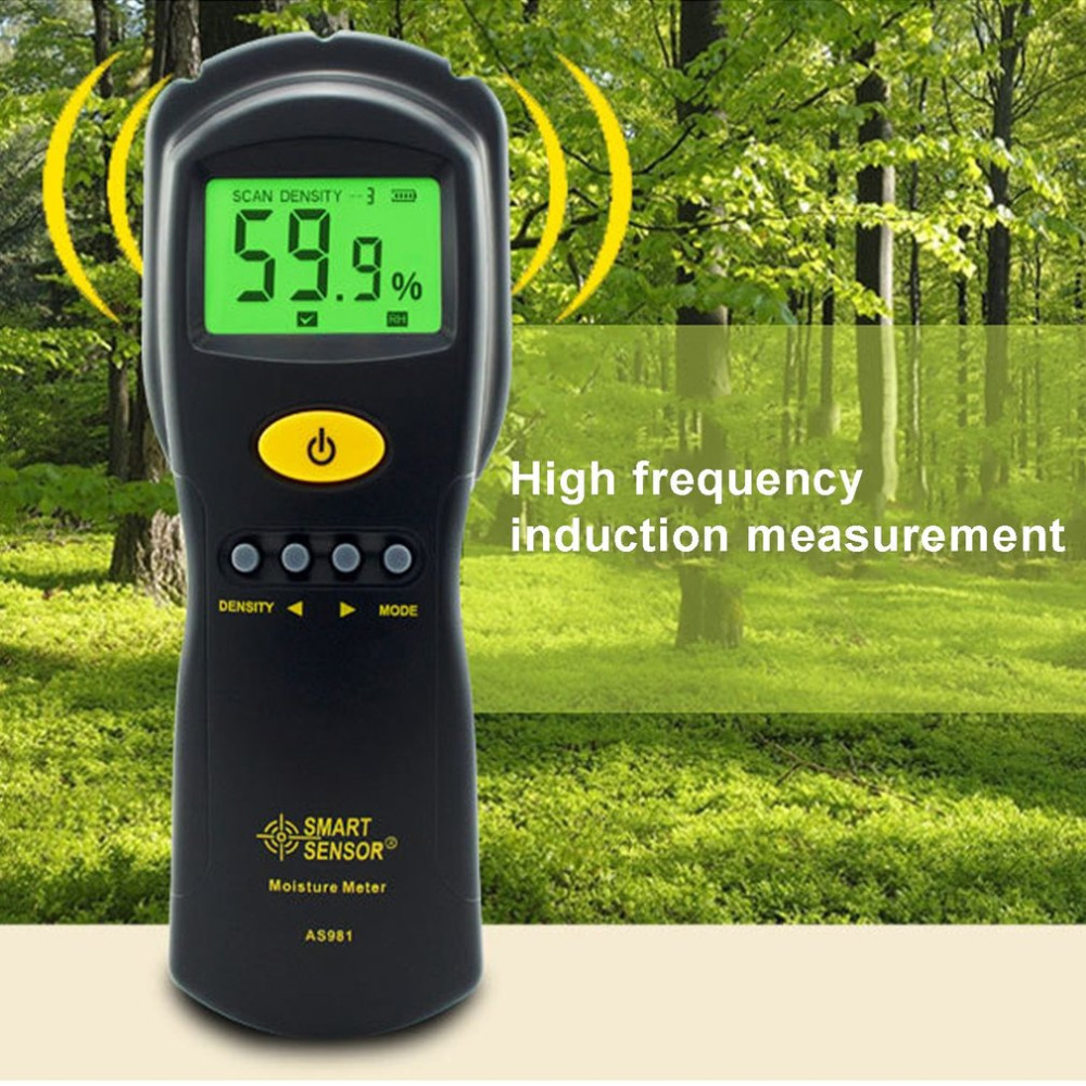Smart Sensor AS981 Digital Wood Moisture Meter Hygrometer Humidity Tester Plywood Wooden Materials LCD Backlight Damp Detector