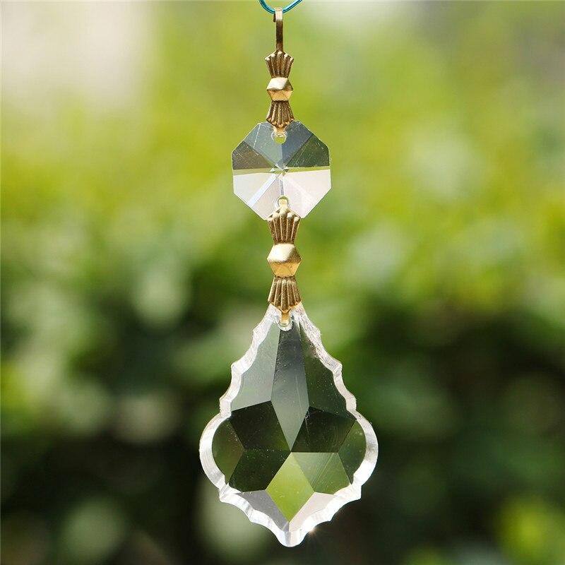 10 Silver Hook Maple Leaf Crystal Prisms Drop Pendant Chandelier Lighting Parts