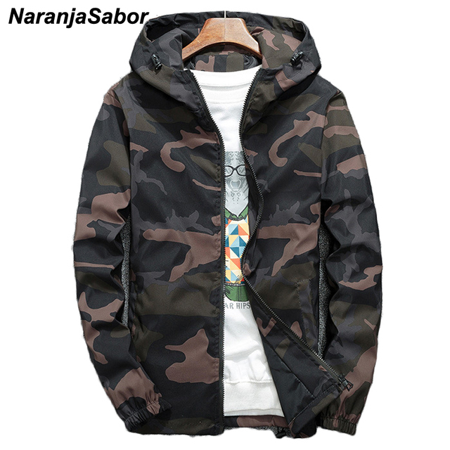 0cbc24d502ebec NaranjaSabor Spring Autumn Men s Hooded Jackets Camouflage Military Coats  Casual Zipper Male Windbreaker Men Brand Clothing N438