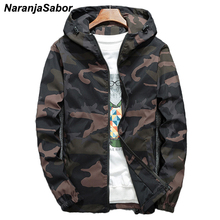 NaranjaSabor Spring Autumn Men's Hooded Jackets Camouflage Military Coats Casual Zipper Male Windbreaker Men Brand Clothing N438