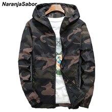 NaranjaSabor демисезонный для мужчин's куртки с капюшоном камуфляж военная Униформа пальто для будущих мам повседневное молния мужской ветровк