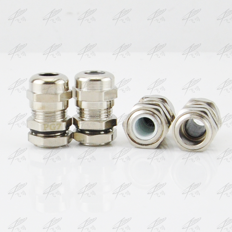 2 Pcs Brass-plated Nickel PG11 5-10mm Waterproof Connector Cable Gland