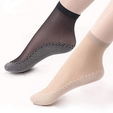 Hot Sale! High Quality Women Velvet Socks Female Summer Street sock Thin Silk Transparent 10 Pairs Ankle Sox Womens