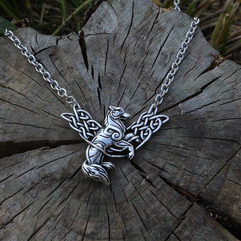 lanseis 1pcs viking celt wolf men necklace pendant Pictish Wolf Pictish Animals jewelry norse wolf Fenrir symbol