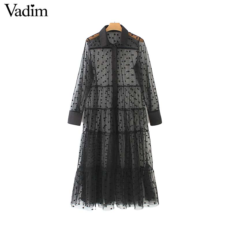 Vadim women stylish polka dot patchwork transparent midi shirt dress long sleeve female chic sexy mesh dresses vestidos QB670(China)