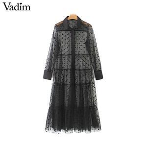 Image 1 - Vadim women stylish polka dot patchwork transparent midi shirt dress long sleeve female chic sexy mesh dresses vestidos QB670
