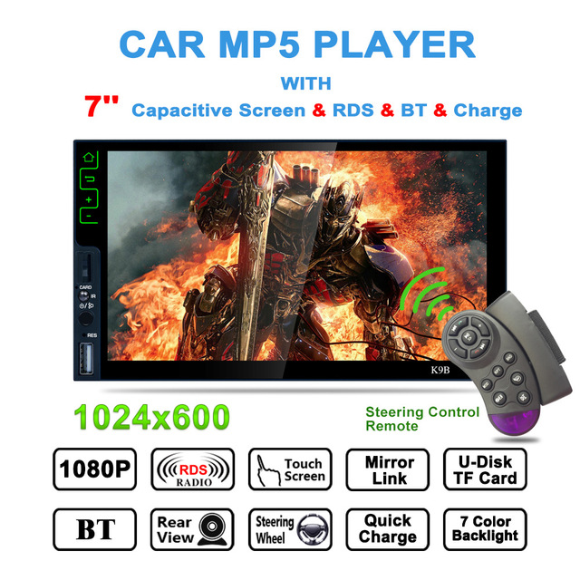 "7"" HD Touch Screen 2 Din Bluetooth Car MP5 Player Auto Stereo Audio FM Radio Tuner RDS Mirrorlink Steering Wheel Remote Control"