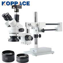 KOPPACE USB 2.0 5MP Digital Camera Trinocular Stereo Zoom Microscope WF10X/20 Eyepieces 3.5X-90X Magnification LED Ring Light