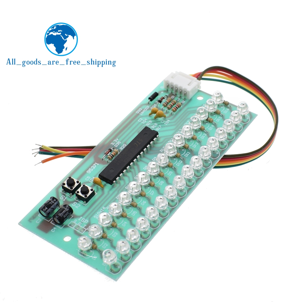 Mcu Adjustable Display Pattern Led Vu Meter Level Indicator Audio Amplifier 16 Dual Channel Green Lamp Light Dc 8v To 12v In Integrated Circuits From
