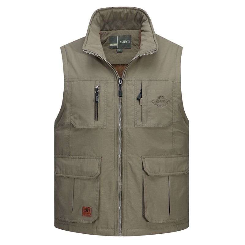 Casual Multi Pocket Vest For Male Classic Photographer Fleece Winter Warm Reporter Tool Baggy L 4XL Outerwear Sleeveless Jacket