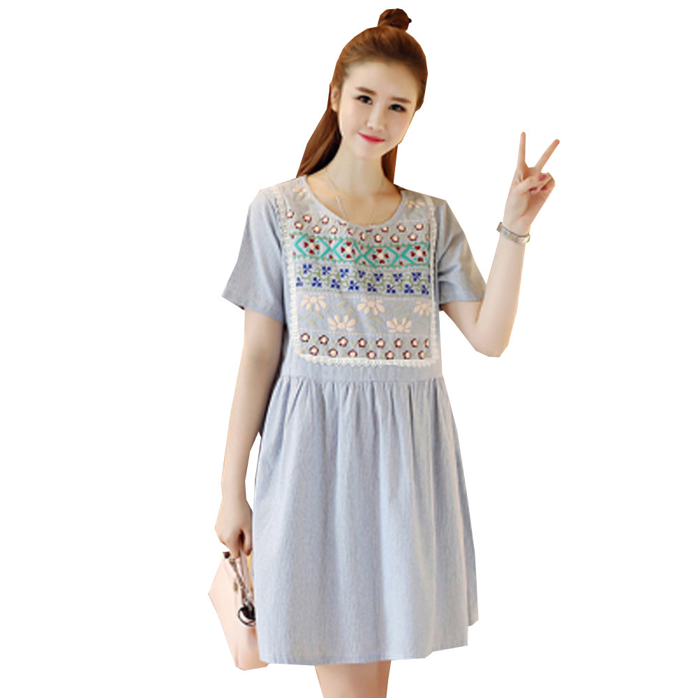 Compare prices on retro maternity dresses online shoppingbuy low 2017 summer vintage embroidery maternity dress short sleeve retro pregnancy clothes for pregnant women cotton linen ombrellifo Gallery