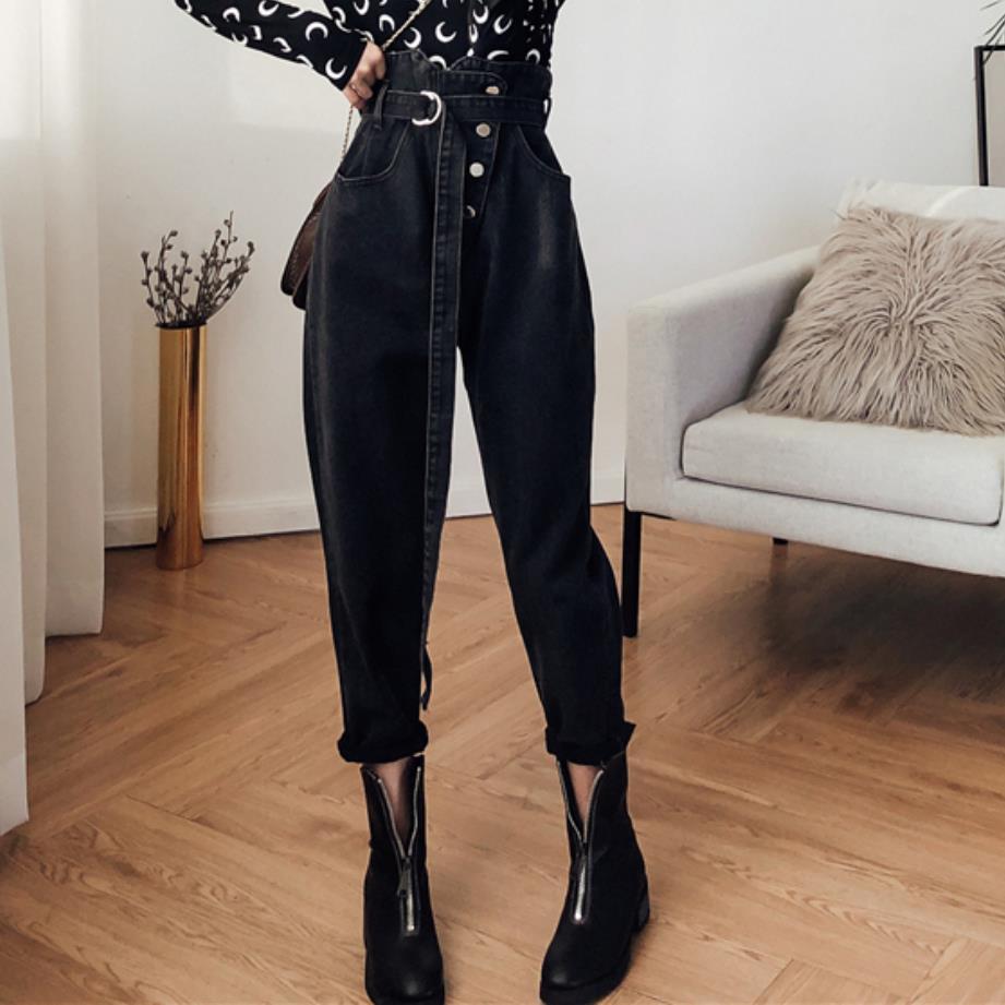 Autumn Jeans Women Fashion High Waist Loose Denim Jeans Female Harem Pants Trousers Boyfriend Jeans For Women