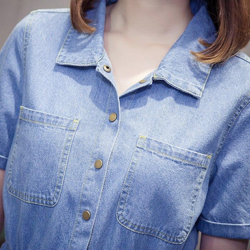 Taille élastique cordon bleu femme Sexy Denim robes à manches courtes revers femmes mode robe 2019 grande taille 5XL vêtements décontractés - 5