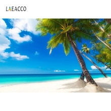 Laeacco Sea Beach Palm Tree Blue Sky White Clouds Photography Backgrounds Customized Photographic Backdrops For Photo Studio