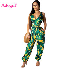 Adogirl Leaf Print Sleeveless Loose Romper Buttons V Neck Backless Casual Summer Romper Wide Leg Pants Beach Outfits Playsuits sleeveless cut out dressy high neck pants romper