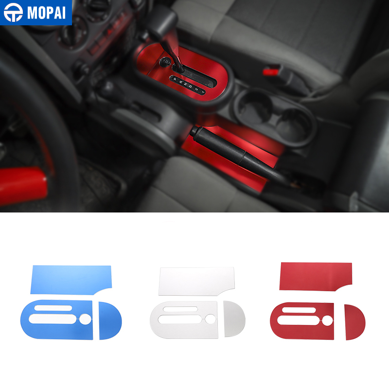 MOPAI Car Gear Shift Knob Panel Trim Cover Stickers for Jeep Wrangler JK 2007-2010 Interior Decoration Car Accessories Styling console center gear shift shifter panel cover trim frame stickers car styling fit for chevrolet camaro 2017 interior accessories