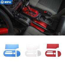 MOPAI gałka zmiany biegów do samochodu wykończenie panelu pokrywa naklejki dla Jeep Wrangler JK 2007 2010 dekoracja wnętrz akcesoria samochodowe stylizacja