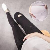 Cadrà jeans delle donne incinte nuovo Corea Del Sud mostra sottile nero piedi foro pantaloni addome nove minuti dei pantaloni