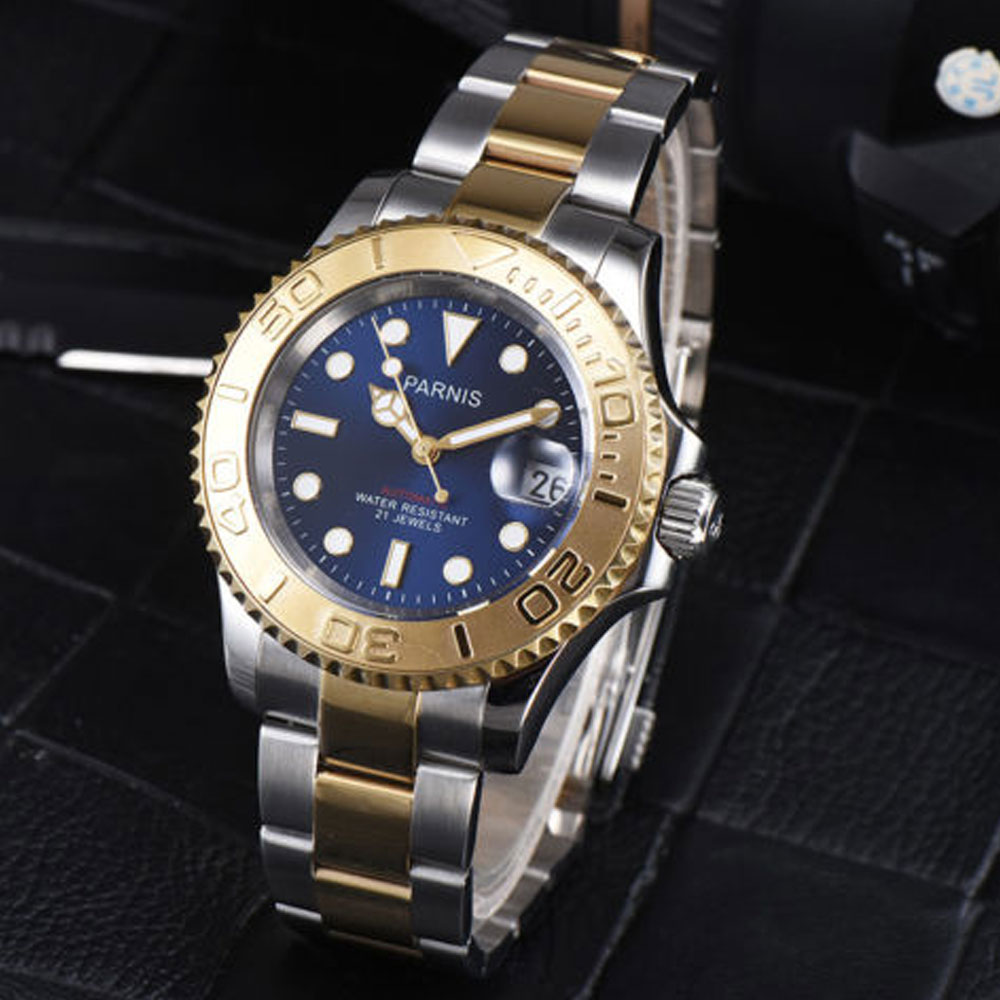 41mm Parnis Blue dial luminous Golden plated Sapphire glass Complete Calendar 21 jewels miyota Automatic movement Mens Watch