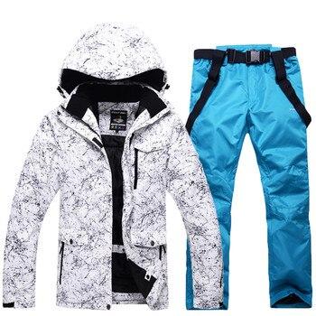 Homens E Mulheres Terno de Esqui Impermeável Terno de Esqui de Montanha Para Os Homens Engrossar Quente Jaqueta + calça De Esqui Snowboard Ski Neve conjunto luvas Livres