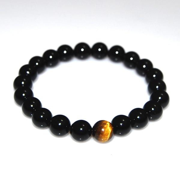 Natural Black Onyx With Tiger Eye Stone Beads Bracelet