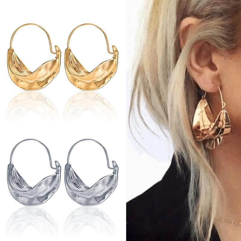 4.5*3.5cm Geometric Irregular Moon Boat Bamboo Basket Metal Wind Alloy Hoop Earrings Female Gold Silver Popular Accessories